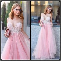 Reference Images A-Line Jewel/Bateau Vestido De Festa Cute Long Pink Tulle Prom Dresses 2017 Hot Sale Jewel Neck Appliques Lace Bodice Evening Dress For Graduation