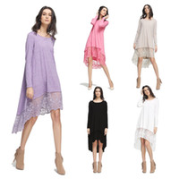 2017 New Women Casual Dresses Comfortable Fashion Lace Dress Vestido de manga comprida Europa e Estados Unidos Estilo