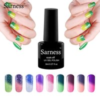 Wholesale Uv Gel Thermo Color - Wholesale- sarness 1pc 8ml Temperature Change Nail Gel 29 Colors Thermo Varnish Mood Color UV Gel Varnish Soak Off Foil Adhesive