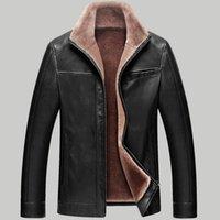 yüksek yaka pu deri ceket toptan satış-Yüksek kaliteli Kürk Standı Yaka orta yaşlı PU Deri ceket Kış Iş Rahat kalın Sıcak Siyah Deri ceket Erkekler
