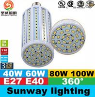 Wholesale E39 Led Bulbs - E40 B22 E27 Led Corn Lights SMD 5730 High Power 40W 50W 60W 80W Led Light Bulbs 360 Angle AC 85-265V ce ul