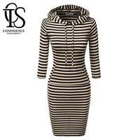 Wholesale Hooded Plus Size Dress - Women Dress 2016 Winter Dresses Brand Plus Size Women Clothing Casual Fashion Striped Hooded Long Sleeve Bodycon Dress