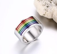 Wholesale Stainless Jewellry - Best Quality Rainbow Rings for Gay Finger Ring Jewellry 10mm Large Stainless Steel Rings Rainbow Gay Pride Jewelry Manual Polishing Enamel