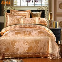 Wholesale Satin Comforters - NEW fashion silk bedding set golden tribute bed linen silk cotton A B side satin comforter cover cotton bed sheet 5164.