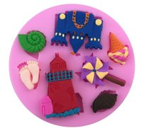 Wholesale Castle Mold - Wholesale- 3D DIY Castle Beach Foot Sea Shaped Fondant Silicone Mold Cake Decorating Tools 7.2x7.2x1cm Silicone Biscuit Chocolate Mold E252