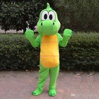 vestido de dinossauro adulto venda por atacado-Alta Qualidade Dragão Verde Dinossauro Traje Da Mascote Dos Desenhos Animados Roupas Terno Rosa Tamanho Adulto Vestido Extravagante Partido Direto Da Fábrica Frete Grátis