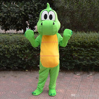 Wholesale Dinosaur Dragon - High Quality Green dragon Dinosaur Mascot Costume Cartoon Clothing Pink Suit Adult Size Fancy Dress Party Factory Direct Free Shipping