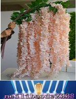Wholesale Cherry Garland - Silk Gorgeous Cherry Flower Rattan Wisteria Flower Vines Sakura Garland Hydrangea For Wedding Centerpieces Artificial Decorative Flowers MYY