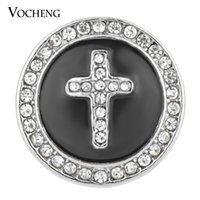 Wholesale faith crystal - NOOSA Ginger Snap Black White 18mm Cross Faith Crystal Button Jewelry VOCHENG Vn-1332