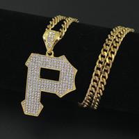 joyería p al por mayor-Nuevos hombres Iced Out letra P colgante, collar de la joyería 5 mm 30 pulgadas de acero inoxidable cubano cadena N678
