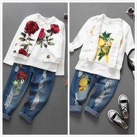 Wholesale Wholesale Flower Jeans - Spring Autumn Girls Clothing Sets Rose Flower Lemon Three Piece Fashion Outfits Jacket+T-shirts+Jeans Children Clothing TZ989
