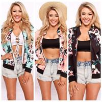 Wholesale Women Flower Blazer - Ladies Fashion Fall Women Casual Flower Floral Print Jacket Long Sleeve Zipper Blazer Outwear Slim Coat