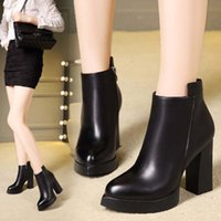 Wholesale Sexy Platform Ankle Boots - Sexy Women Boots Fashion Platform Punk Square High Heels Black Ankle Boots for Ladies Shoes