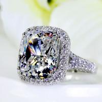 ingrosso anelli di diamanti in oro 14kt-Dimensione 5/6/7/8/9/10 Big Stone 10CT Lusso Jewerly in oro bianco 14kt riempito 192 TOPAZ CZ Diamond Wedding Women Anello di fidanzamento Anello per regalo d'amore