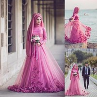 Wholesale Islamic Women Pictures - 2017 Pink Turkish Traditional Formal Gowns Long Sleeve 3D Floral Beaded Muslim Evening Dresses Islamic Kaftan Dubai Arabic Women Party Gown