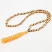 Wholesale Prayer Wood Highest - ST0209 High Quality Wood Yoga Necklaces Trendy Handmade Rudraksha Tassel Necklace Traditional Mala Prayer Beads Hindu Jewelry