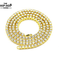 Wholesale Row Diamonds - Wholesale-Hip Hop Gold Chain 1 Row Simulated Diamond Hip-Hop Necklace Chain 24inch --30inch Mens Gold Tone Iced Out Punk Necklace