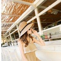 Wholesale Simple Straw Hats - Summer Khaki Womens Beach Sun Straw Hat Bowknot Ladies Fedora Style Beige Bohemia Cap Simple Sunhat
