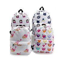 Wholesale Cell Phone Nails - Pretty Fashion Nail Emoji Canvas Backpack School Backpacks for Teenage Girls Women Printing Outdoor Travel Bag