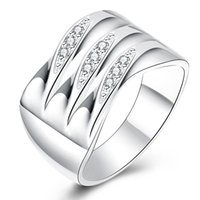 Wholesale Triple Wedding Ring Set - Lady's Fashion Triple Zircon Inlaid 925 Sterling Silver Ring Silver Plated Wide Ring Wedding Ring Party Jewelry for Women Size 7-8