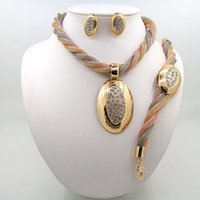 Wholesale Pearl Gift Jewelry Prices - 2016 Fashion pearl pendant Nigerian African Beads Jewelry Set Dubai Gold Wedding Jewelry Set Wholesale Price Four Piece Sets Free shipping