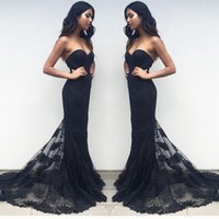 Wholesale Evening Dress Trumpet Embroidery - Black Sexy Lace Evening Dresses Mermaid Red Carpet Dress With Sweetheart Sweep Train Embroidery Party Gowns