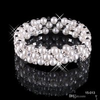Wholesale Crystal Charms For Bracelets - Amazing Crystal Pearls Bracelets Rhinestone High Quality Wedding Jewelry Accessories Bridal Jewelry 3 Rows Women Bracelets For Prom Party