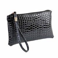 Wholesale Casual Leather Lady Bags Wholesale - Luxury Women's Purse Thin Wallet Handbags Fashion Crocodile Leather Clutch Casual Money Bag Ladies Coin Purse Phone Card Holder
