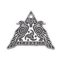Wholesale Silver Neckalces - Wicca Series Pendant Valknut Odin 's Ravens Charms For Neckalces Bracelets Earrings for Man and Woman