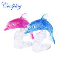 Купить Детские Игрушки-Coolplay 3D Crystal Puzzle Dolphin Shaped Модель Kids DIY Toy Building Block