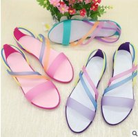 Wholesale fishing n - 2017 Fish Mouth Sandals Summer Fashion Colorful Roman Shoes Crystal Jelly Hole Hole Shoes Female Beach Sandals