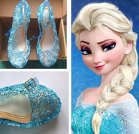 Wholesale Lace Princess Heels - 2016 Cinderella Frozen ice queen girl Elsa Cosplay Costume Shoes Princess Glass slipper Kids Shoes dance Sandals Clogs Blue Khaki White