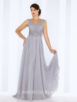 Wholesale Images Floor Motifs - 2016 Sleeveless chiffon A-line gown with front and back V-necklines pleated bodice hand-beaded motif wraps around natural waist sweep train