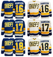 Wholesale Flash Shots - Hanson Brothers Charlestown Slap Shot Movie Hockey Jerseys Ice 16 Jack Hanson 17 Steve Hanson 18 Jeff Hanson Jersey Team Road Blue White