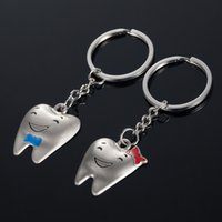 Wholesale Tooth Lover Couple Key Chain - Lovely Smile Tooth Metal Alloy Keychain Couples Key Chain Pendant Keyring Keychains Fashion Accessories