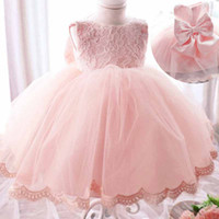 Wholesale Korean Style For Autumn - 2016 Christmas Dresses for Girls with Big Bow Tutu Flowers Crochet Lace Dress Korean Style Baby Girl Princess Dress Sleeveless Long Sleeve