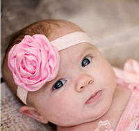 Wholesale Beautiful Rose Child Flowers - Wholesale 2016 Beautiful Satin Rose Flowers Elastic Band Headbands Kids Children Hair Accessories Babies Princess For Flower Girls Headbands