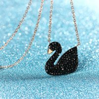 Wholesale Selling Stainless Steel Necklace Chain - Zircon Black Swan pendant choker necklaces for women 316l titanium steel 18k rose gold plated new fashion hot selling vintage jewelry