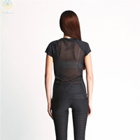 Wholesale Translucent Material - 2016 Women Split Joint Gauze Sexy Sports Tops Tees Running Clothing Gym Fitness Yoga Translucent Matt Material Black Cat T-Shirt