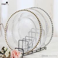 boncuklu plaka toptan satış-Stoklanan 13 inç yuvarlak düğün temizle gümüş / altın cam boncuklu şarj pates cam levha için düğün masa dekorasyon