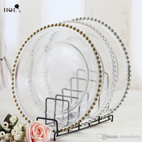 Wholesale Beaded Chargers - wholesale 13inch round cheap wedding cear silver gold glass beaded charger pates glass plate for wedding table decoration