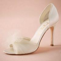 zapatos de baile de boda de marfil al por mayor-Zapatos de boda de tul de tul de marfil Zapatos de boda a medida Satin Slip-ons superior Fiesta de baile de 3.5