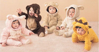 Wholesale Costume Bodysuit Outfit Romper - Retail Baby Boys Girls Fleece Cotton Animal Hooded One-Piece Romper Children Halloween Xmas Costume Kids Bear Rabbit Sheep Outfit Bodysuit