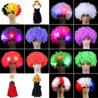 Wholesale Led Fan Flash - Colorful Clown Cosplay Wavy LED Light Up Flashing Hair Wig Funny Fans Circus Halloween Carnival Glow Party Supplies CCA7533 100pcs