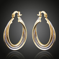 Wholesale Fashion Jewellery Hoop Earring - Brass Copper Plated Double Color Golden&Silver Cable Circles Stud Hoop Earrings Fashion Jewelry Women Accessories China Jewellery Wholesale