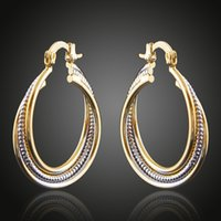 Brass Copper Plated Double Color GoldenSilver Cabo Circles Stud Hoop Brincos Moda Jóias Acessórios Femininos China Jewellery Wholesale