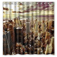 Wholesale New York Shower - City Night Sky Clouds New York Skyscrapers Design Shower Curtain Size 180 x 180 cm Custom Waterproof Polyester Fabric Bath Shower Curtains