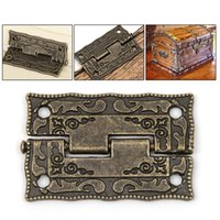 Wholesale Vintage Storage Cabinets - 10pcs set Cabinet Door Butt Hinges Mini Drawer Bronze Decorative Mini Hinges For Cabinet Storage Wooden Box Vintage