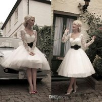 Wholesale Modified Sweetheart - 2016 Vintage Sweetheart Long Sleeves Lace Top Black Sash Modified A-line Knee-length Fashion Ivory Short Bridal Gown Wedding Dress