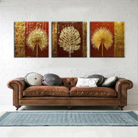 Wholesale Palms Pictures - Modern abstract fashion oil painting on canvas 3Pcs lot gold palm leaf decorative wall pictures for home decoration